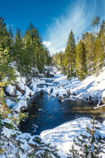 Prise De Vue Fascinante D'un Magnifique Parc Rocheux Enneigé Autour Du Lac Avec Un Fond De Montagne Photo gratuit