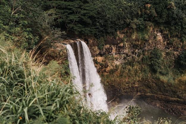Prise De Vue En Grand Angle De Chutes D'eau Dans Le Parc D'état De La Rivière Wailua à Hawaii Usa Photo gratuit