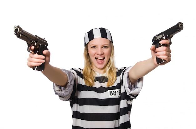 Prisonnier isolé sur le blanc Photo Premium