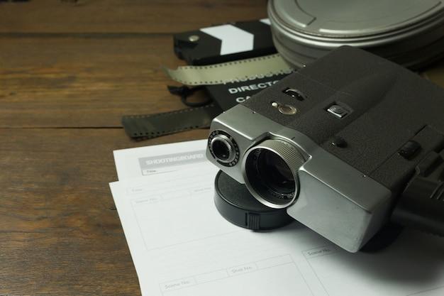 Production de film image en coulisse à plat de l'arrière-plan. Photo Premium