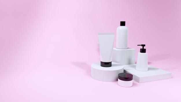 Produit de maquette de bouteille cosmétique sur fond rose, rendu 3d Photo Premium