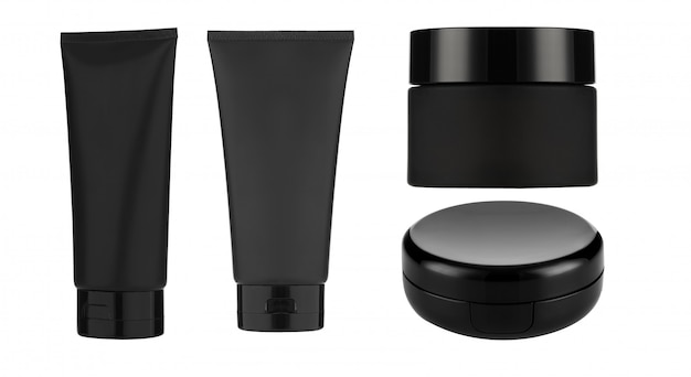 Produits cosmétiques mock up sur un fond blanc. collection d'emballage cosmétique. isolé. Photo Premium