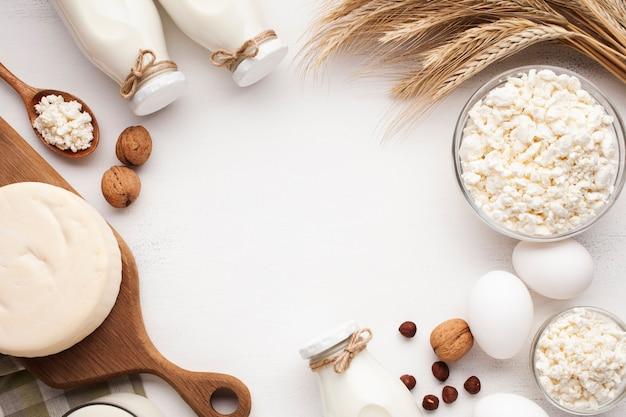 Produits laitiers et cadre de céréales Photo gratuit