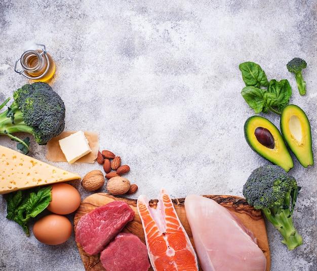 Produits sains à faible teneur en glucides. régime ...