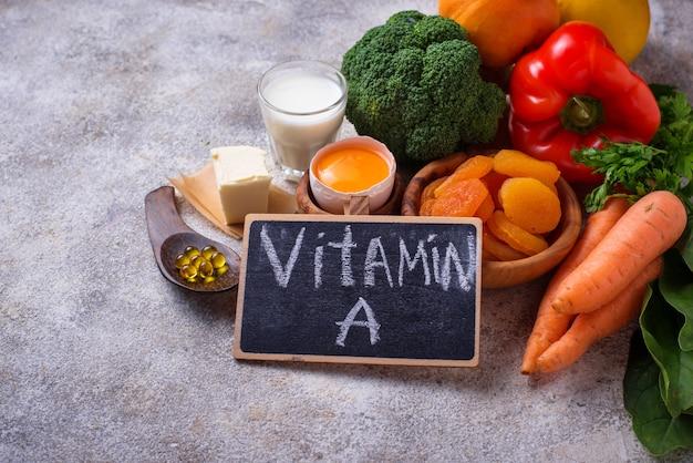 Produits sains riches en vitamine a Photo Premium