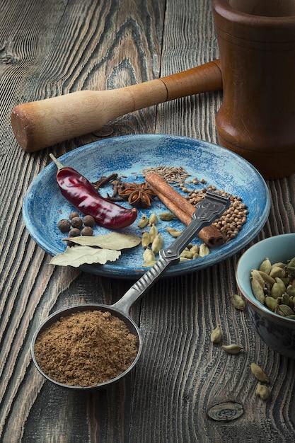 Promotions Colorées Sur La Table. Poudre Indienne De Garam Masala Et Ses Ingrédients épices Colorées. Photo Premium