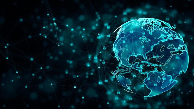 Protection du réseau de cybersécurité et d'information avec l'icône du verrou. Photo Premium