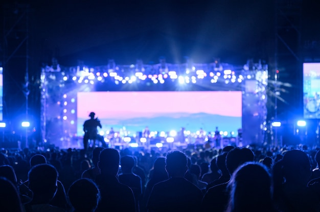 Le Public Des Jeunes Silhouette Regarde Le Concert De Nuit Photo Premium
