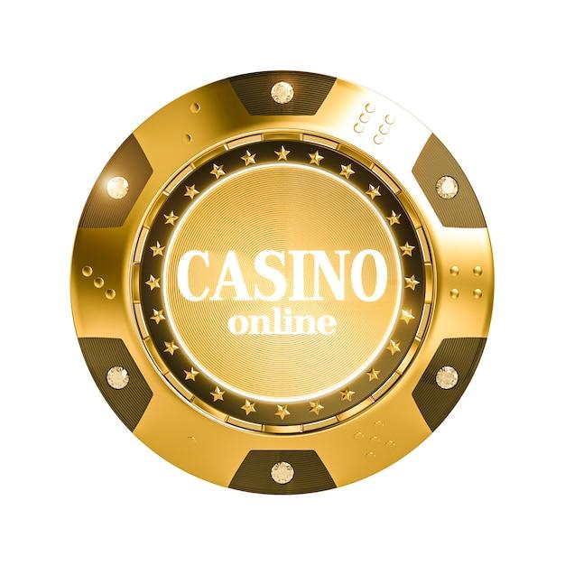 Puce de casino doré rendu 3d isolé avec diamant. Photo Premium