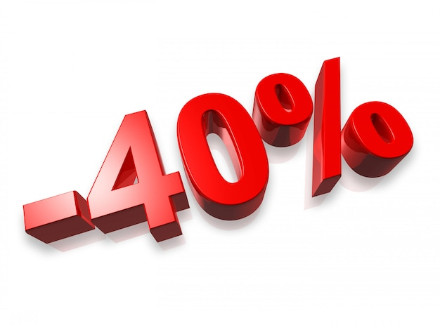 Quarante pour cent du nombre 3d isolé sur blanc Photo Premium