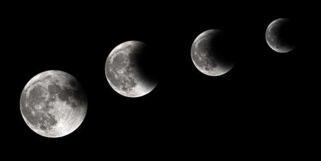 Quatre étapes De L'éclipse De Lune, éclipse Lunaire, Arrière-plan Photo Premium