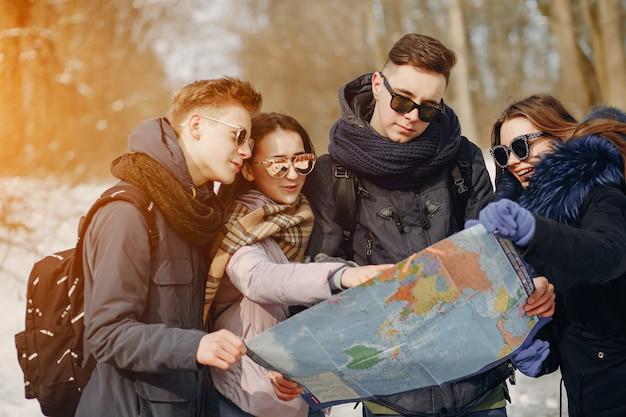 Quatre touristes Photo gratuit