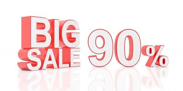 Quatre vingt dix pour cent de vente. grande vente pour la bannière du site. rendu 3d. Photo Premium