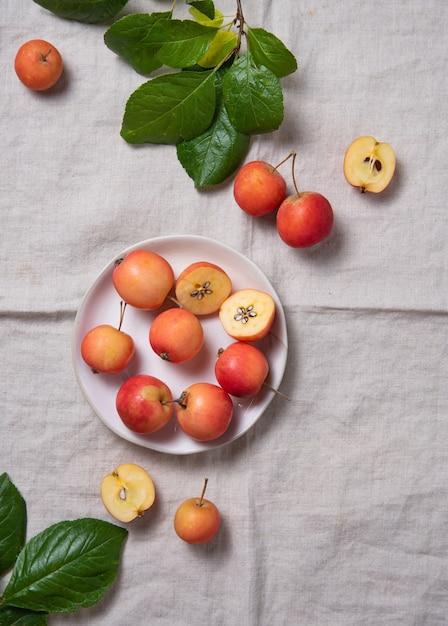 Quelques Mini Pommes Juteuses Dans Une Assiette Blanche Sur Une Nappe En Lin Naturel. Vue De Dessus Et Espace De Copie Photo Premium