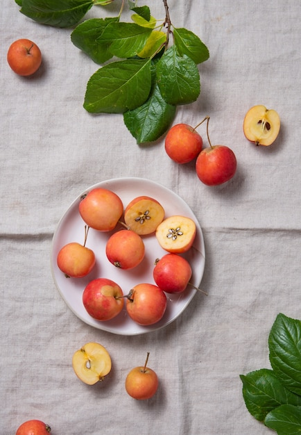 Quelques Mini Pommes Juteuses Dans Une Assiette Blanche Sur Une Nappe En Lin Naturel Photo Premium