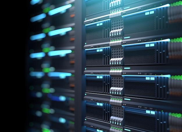 Racks de serveur de superordinateur dans le centre de données. illustration 3d Photo Premium
