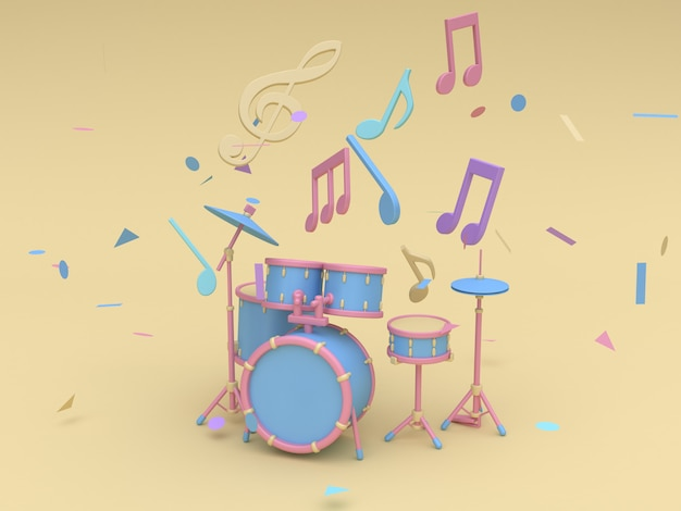 Radio bleu-rose 3d sertie de nombreuses notes de musique, touche de style de bande dessinée sol doux jaune minime rendu 3d Photo Premium