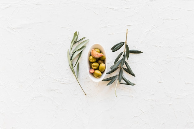 Rameaux avec bol d'olives et gousse d'ail sur fond texturé Photo gratuit