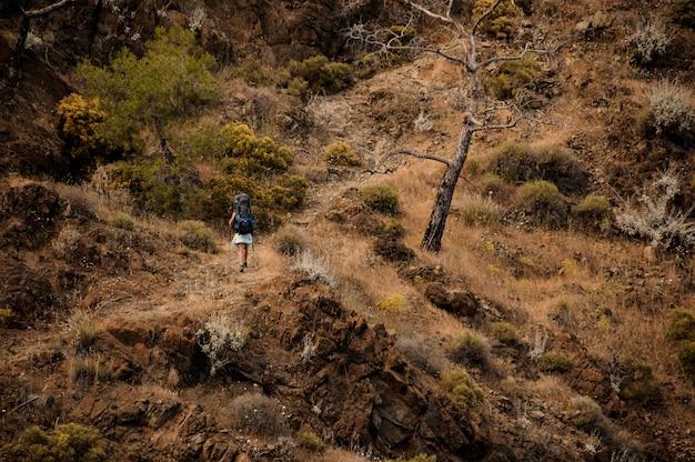 Randonneuse avec sac à dos voyage dans les collines Photo Premium