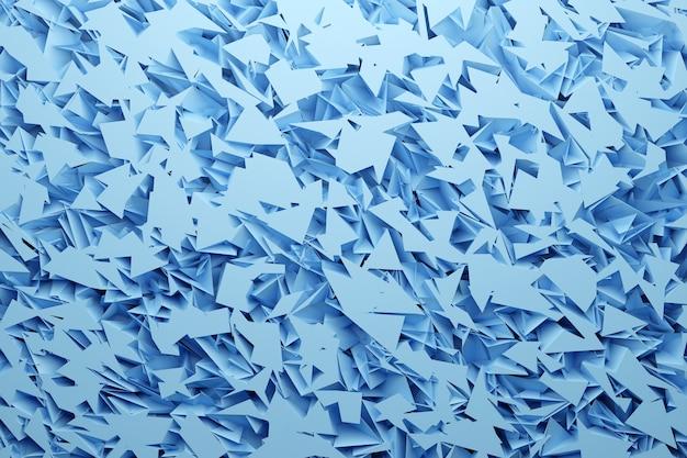 Rangées D'illustration 3d De Cristaux Métalliques Bleus Et Blancs. Patter Sur Un Fond Monochrome, Motif. Fond Géométrique, Motif De Tissage. Photo Premium