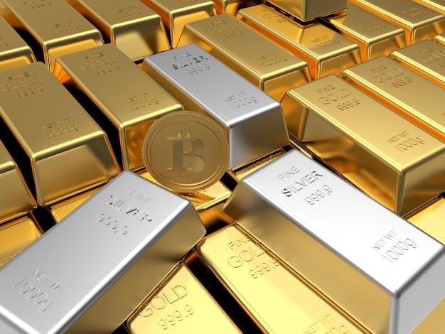 Rangées De Lingots D'or Avec Pièce De Monnaie Bitcoin Et Lingots D'argent. Photo Premium