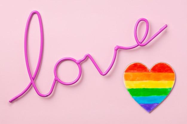 Rayures de couleur arc-en-ciel, symbole de la fierté gay lgbt. espace de copie Photo Premium