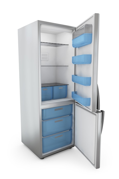Réfrigérateur moderne à portes ouvertes Photo Premium