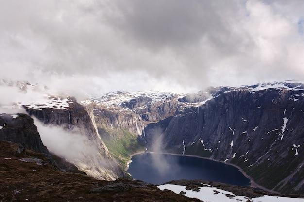 Regardez D'en Haut Au Lac Bleu Parmi Les Hautes Roches Dans La Norvège Photo gratuit
