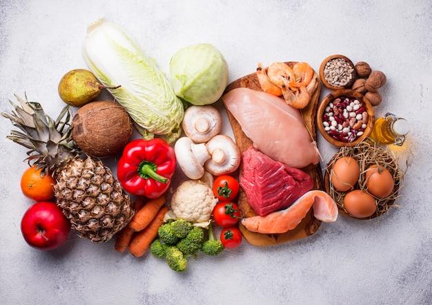 Régime de pegan. produits paléo et végétalien Photo Premium