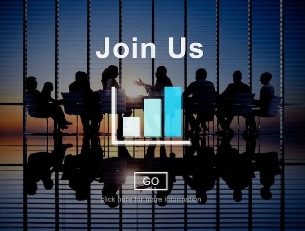 Rejoignez-nous concept de site web de technologie de recrutement en ligne Photo gratuit
