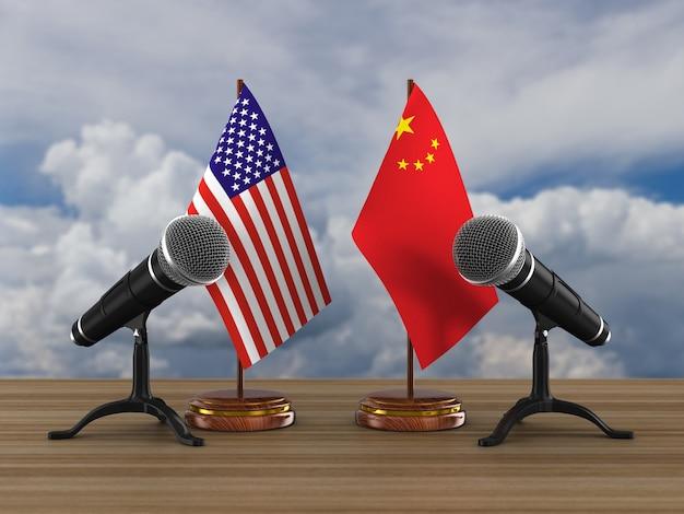 Relation Entre L'amérique Et La Chine Sur Blanc Photo Premium