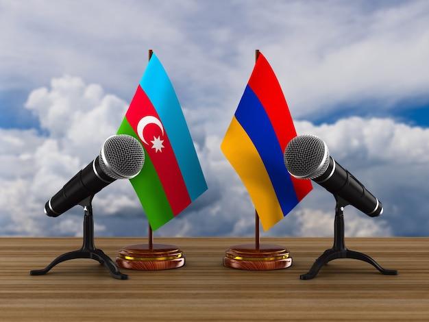 Relation Entre L'arménie Et L'azerbaïdjan. Illustration 3d Photo Premium