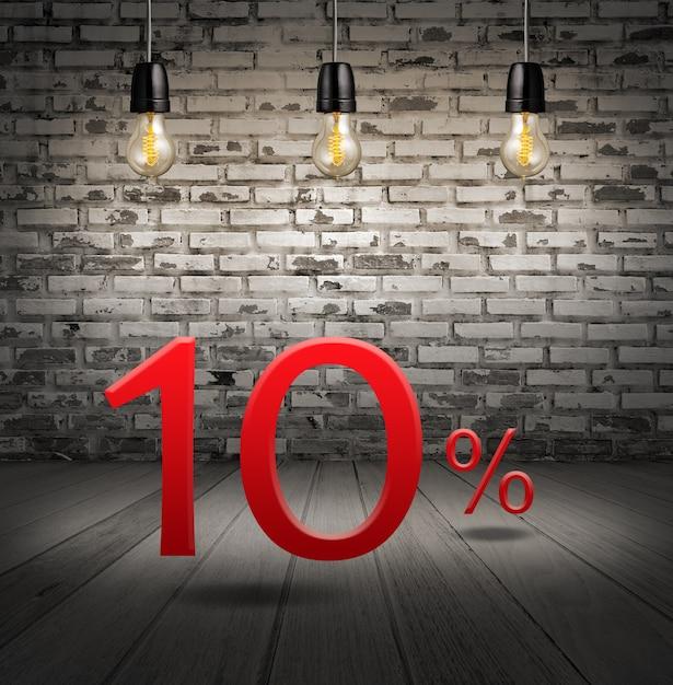 Remise 10 pour cent avec texte offre spéciale votre remise en intérieur avec briques blanches Photo Premium