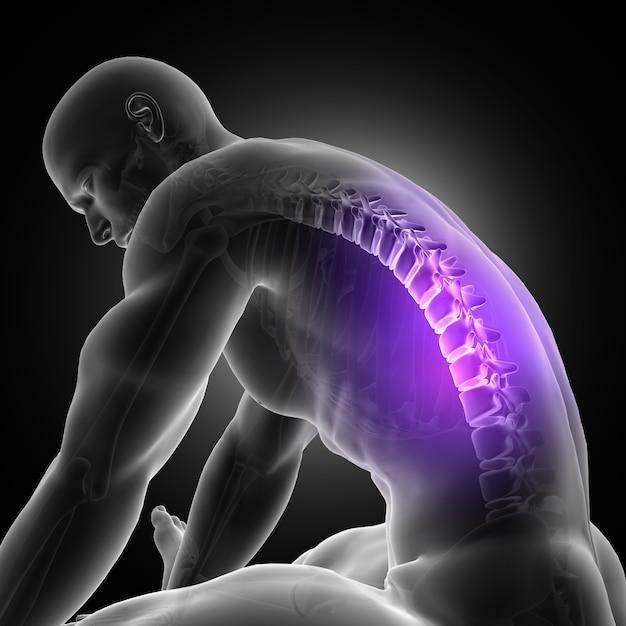Rendement 3d d'une figure masculine penchée sur la colonne vertébrale mise en surbrillance Photo gratuit