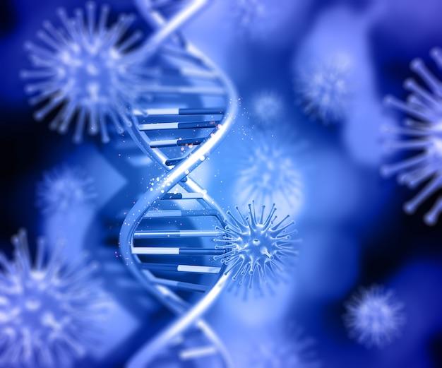 Rendement 3d d'un fond médical avec fil d'adn et cellules de virus Photo gratuit