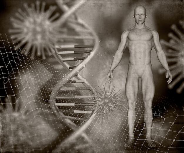 Rendement 3d d'une image médicale de style grunge avec une figure masculine, des brins d'adn et des cellules de virus Photo gratuit