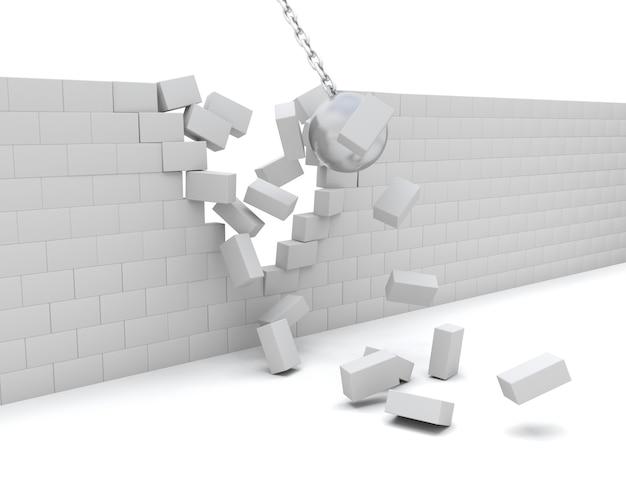 Rendez-vous 3d D'une Boule De Démolition Démolir Un Mur Photo gratuit