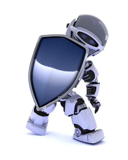 Rendez-vous 3d d'un robot avec un bouclier Photo gratuit