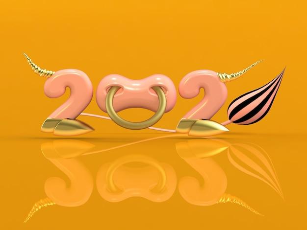 Rendu 3d 2021 Avec Numéros, Sabot Et Anneau De Nez. Photo Premium