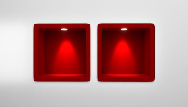 Rendu 3d de 4 étagères de niche arrondies rouges vides dans le mur Photo Premium