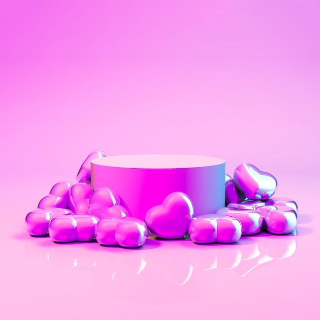 Rendu 3d. Affichage De Produit Abstrait Avec Des Bonbons Coeur Photo Premium