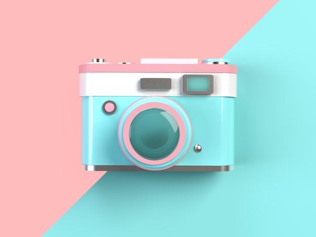 Rendu 3d - appareil photo pastel minimal sur fond rose et turquoise Photo Premium