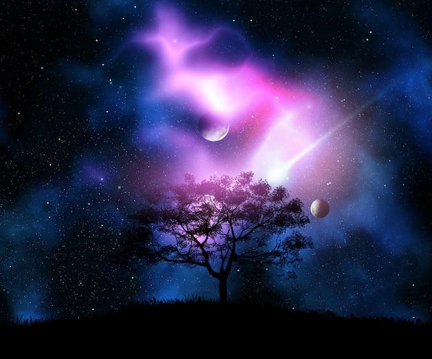 Rendu 3d d'un arbre sur une colline herbeuse contre un ciel de l'espace avec des planètes Photo gratuit
