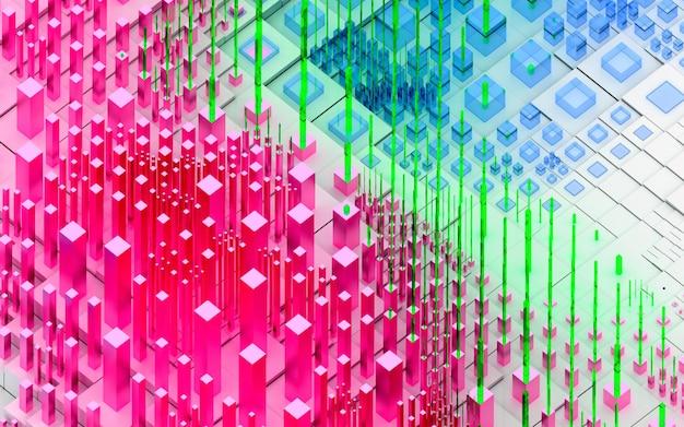 Rendu 3d D'art Abstrait Fond De Paysage 3d Topographique Avec Des Collines Ou Des Montagnes Surréalistes Basées Sur Des Boîtes De Cubes Photo Premium