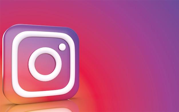 Rendu 3d De Backgraund Instagram, Logo De Médias Sociaux Photo Premium