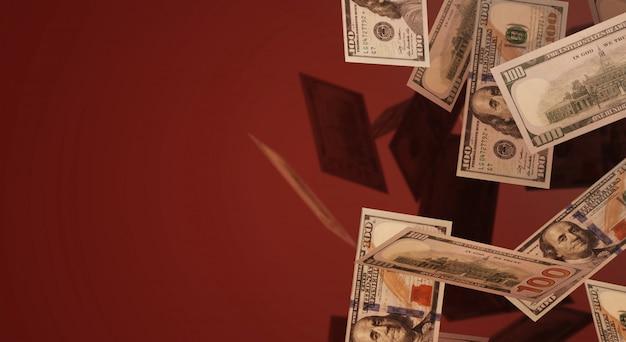 Rendu 3d baisse du contenu commercial de 100 dollars. Photo Premium