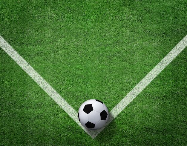 Rendu 3d de ballon de football avec une ligne sur le terrain de football. Photo Premium