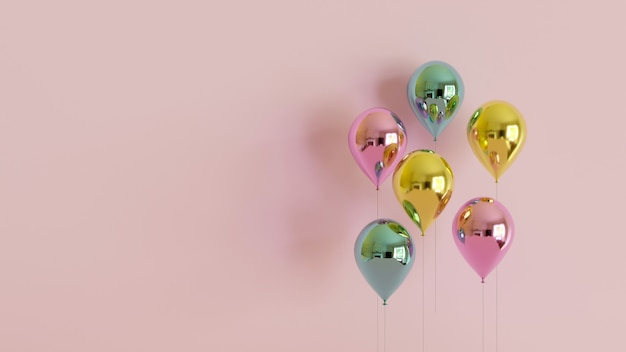 Rendu 3d De Ballons Métalliques Réalistes Sur Fond Pastel Rose. Concept De Célébration Et De Fête. Conception De Fond D'anniversaire. Photo Premium