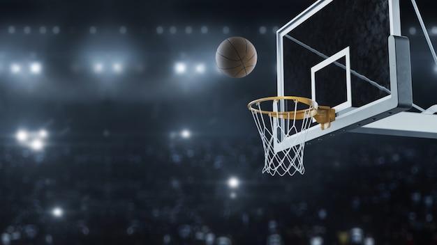 Le Rendu 3d Basketball A Frappé Le Panier Au Ralenti Photo Premium