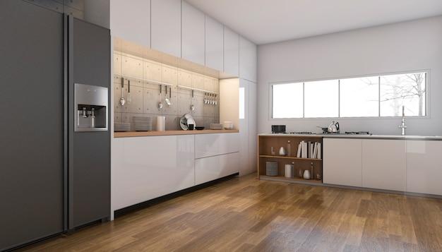 Rendu 3d belle cuisine et salle à manger avec plancher en bois Photo Premium